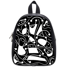 Playful Abstract Art   Black And White School Bags (small)
