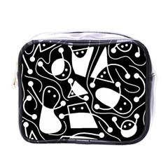 Playful Abstract Art   Black And White Mini Toiletries Bags by Valentinaart