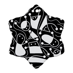 Playful Abstract Art   Black And White Ornament (snowflake)  by Valentinaart