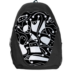 Playful Abstract Art   Black And White Backpack Bag by Valentinaart