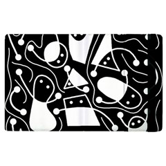 Playful Abstract Art   Black And White Apple Ipad 3/4 Flip Case by Valentinaart