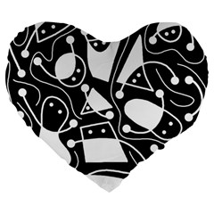 Playful Abstract Art   Black And White Large 19  Premium Heart Shape Cushions by Valentinaart