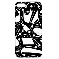 Playful Abstract Art   Black And White Apple Iphone 5 Hardshell Case With Stand by Valentinaart
