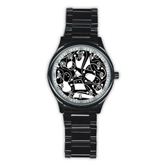 Playful Abstract Art   Black And White Stainless Steel Round Watch by Valentinaart