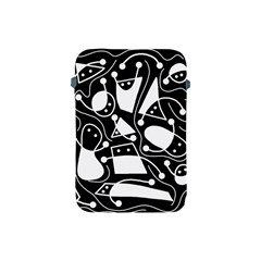 Playful Abstract Art   Black And White Apple Ipad Mini Protective Soft Cases by Valentinaart