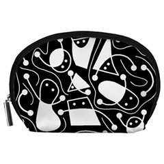 Playful Abstract Art   Black And White Accessory Pouches (large)  by Valentinaart