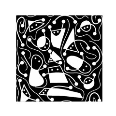 Playful Abstract Art   Black And White Small Satin Scarf (square) by Valentinaart