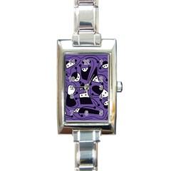 Playful Abstract Art   Purple Rectangle Italian Charm Watch by Valentinaart