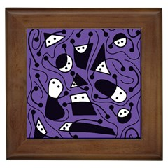 Playful Abstract Art   Purple Framed Tiles by Valentinaart
