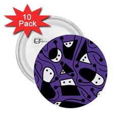 Playful Abstract Art   Purple 2 25  Buttons (10 Pack)  by Valentinaart