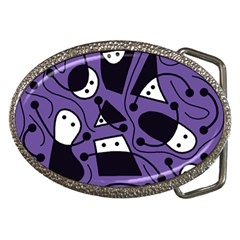 Playful Abstract Art   Purple Belt Buckles by Valentinaart