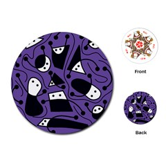 Playful Abstract Art   Purple Playing Cards (round)  by Valentinaart