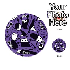 Playful Abstract Art   Purple Playing Cards 54 (round)  by Valentinaart
