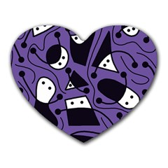 Playful Abstract Art   Purple Heart Mousepads by Valentinaart