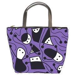 Playful Abstract Art   Purple Bucket Bags