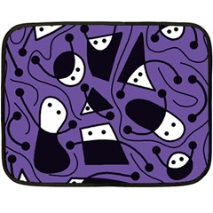 Playful Abstract Art   Purple Double Sided Fleece Blanket (mini)  by Valentinaart