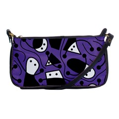 Playful Abstract Art   Purple Shoulder Clutch Bags by Valentinaart