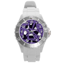 Playful Abstract Art   Purple Round Plastic Sport Watch (l)