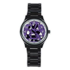 Playful Abstract Art   Purple Stainless Steel Round Watch
