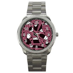 Playful Abstraction Sport Metal Watch by Valentinaart