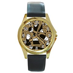 Playful Abstract Art   Brown Round Gold Metal Watch by Valentinaart