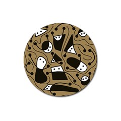 Playful Abstract Art   Brown Magnet 3  (round) by Valentinaart