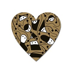 Playful Abstract Art   Brown Heart Magnet by Valentinaart