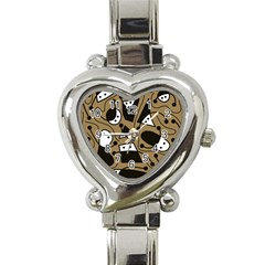 Playful Abstract Art   Brown Heart Italian Charm Watch by Valentinaart