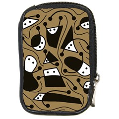Playful Abstract Art   Brown Compact Camera Cases