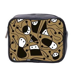 Playful Abstract Art   Brown Mini Toiletries Bag 2 Side by Valentinaart