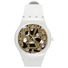 Playful Abstract Art   Brown Round Plastic Sport Watch (m) by Valentinaart