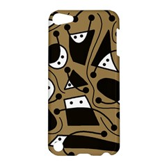 Playful Abstract Art   Brown Apple Ipod Touch 5 Hardshell Case by Valentinaart