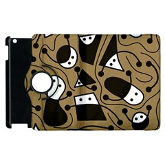 Playful Abstract Art   Brown Apple Ipad 2 Flip 360 Case by Valentinaart