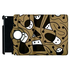 Playful Abstract Art   Brown Apple Ipad 3/4 Flip 360 Case by Valentinaart