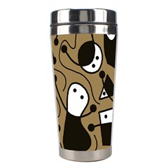 Playful Abstract Art   Brown Stainless Steel Travel Tumblers
