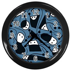 Playful Abstract Art   Blue Wall Clocks (black) by Valentinaart