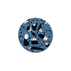 Playful Abstract Art   Blue Golf Ball Marker by Valentinaart