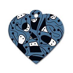 Playful Abstract Art   Blue Dog Tag Heart (two Sides) by Valentinaart