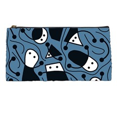 Playful Abstract Art   Blue Pencil Cases by Valentinaart