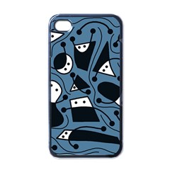 Playful Abstract Art   Blue Apple Iphone 4 Case (black) by Valentinaart