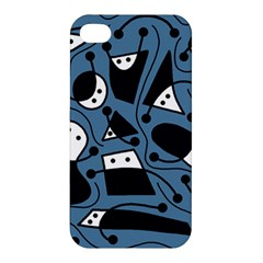 Playful Abstract Art   Blue Apple Iphone 4/4s Premium Hardshell Case by Valentinaart