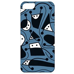 Playful Abstract Art   Blue Apple Iphone 5 Classic Hardshell Case by Valentinaart