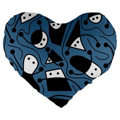Playful Abstract Art   Blue Large 19  Premium Heart Shape Cushions by Valentinaart