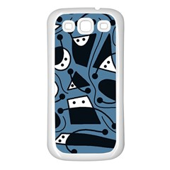 Playful Abstract Art   Blue Samsung Galaxy S3 Back Case (white) by Valentinaart