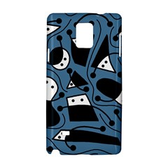 Playful Abstract Art   Blue Samsung Galaxy Note 4 Hardshell Case by Valentinaart