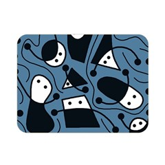 Playful Abstract Art   Blue Double Sided Flano Blanket (mini)  by Valentinaart