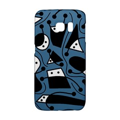 Playful Abstract Art   Blue Galaxy S6 Edge by Valentinaart