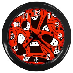 Playful Abstract Art   Red Wall Clocks (black) by Valentinaart