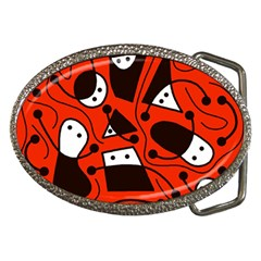 Playful Abstract Art   Red Belt Buckles by Valentinaart