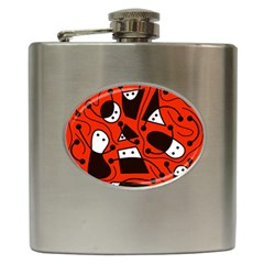 Playful Abstract Art   Red Hip Flask (6 Oz)